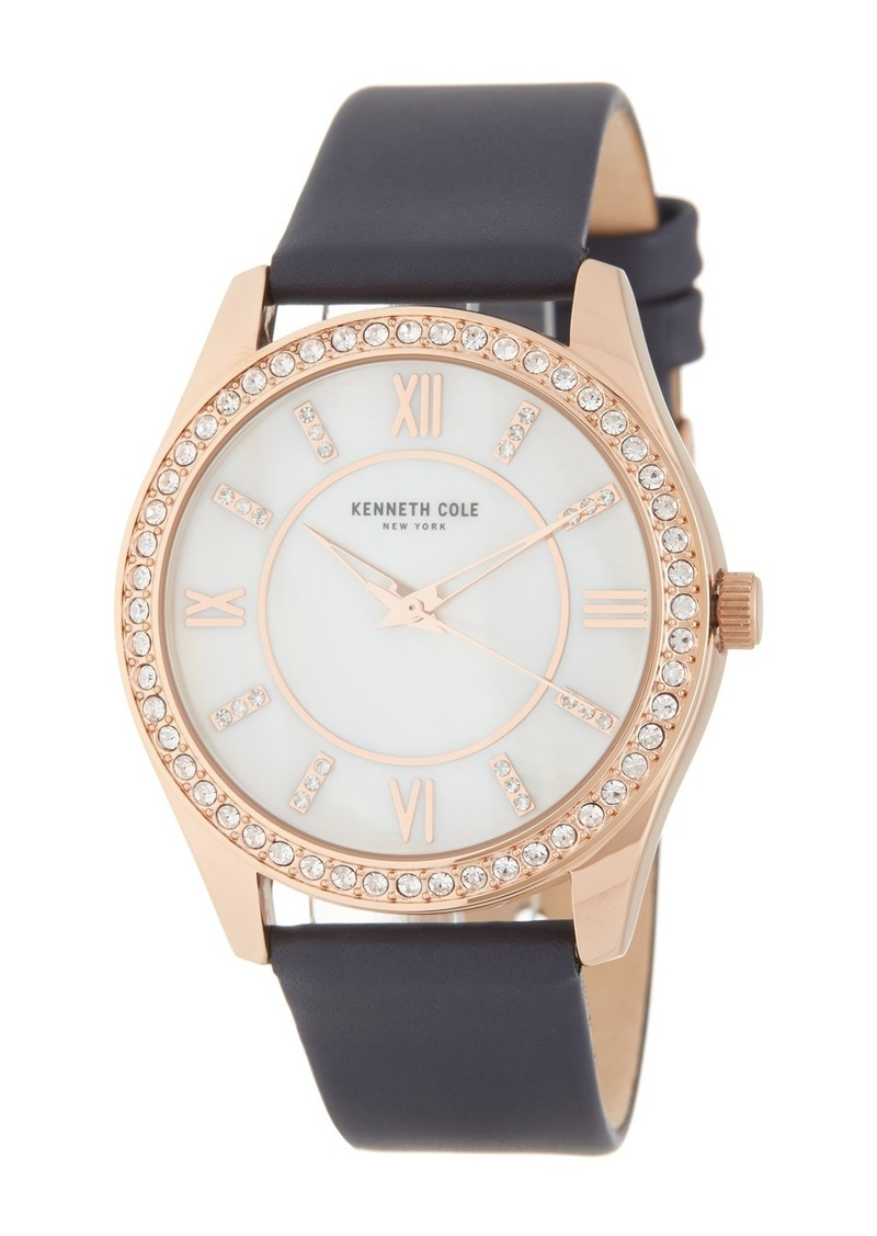 Kenneth Cole Women's Crystal Embellished Leather Strap Watch, 40mm