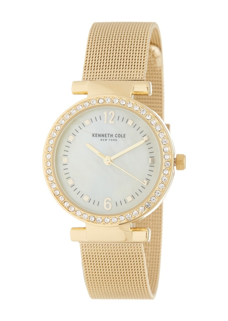 Kenneth Cole Women's Crystal Embellished Mother of Pearl Mesh Strap Watch, 32mm