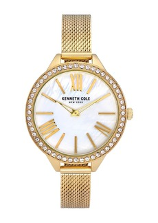 Kenneth Cole Women's Embellished Mother of Pearl Mesh Bracelet Watch, 40mm