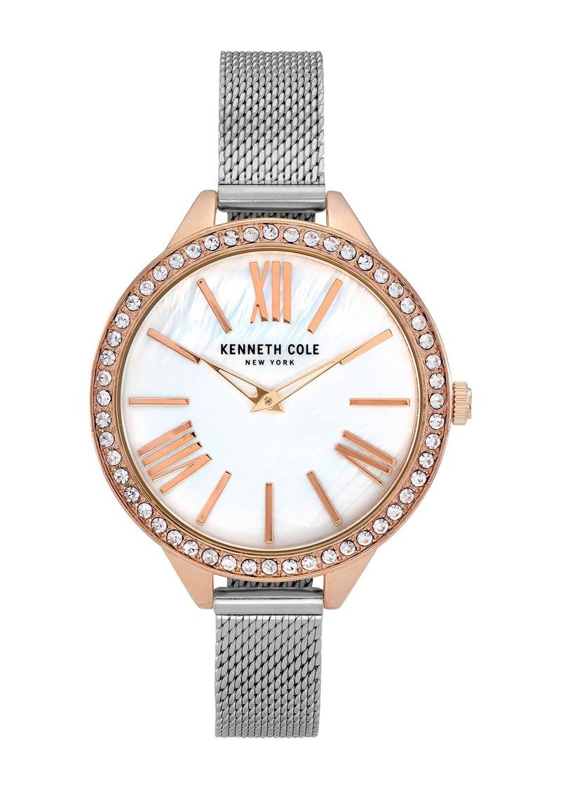 Kenneth Cole Women's Embellished Mother of Pearl Mesh Bracelet Watch, 40mm