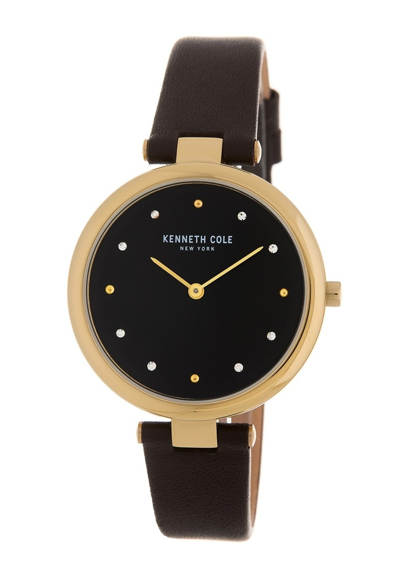 Kenneth Cole Women's Leather Strap Watch, 34mm