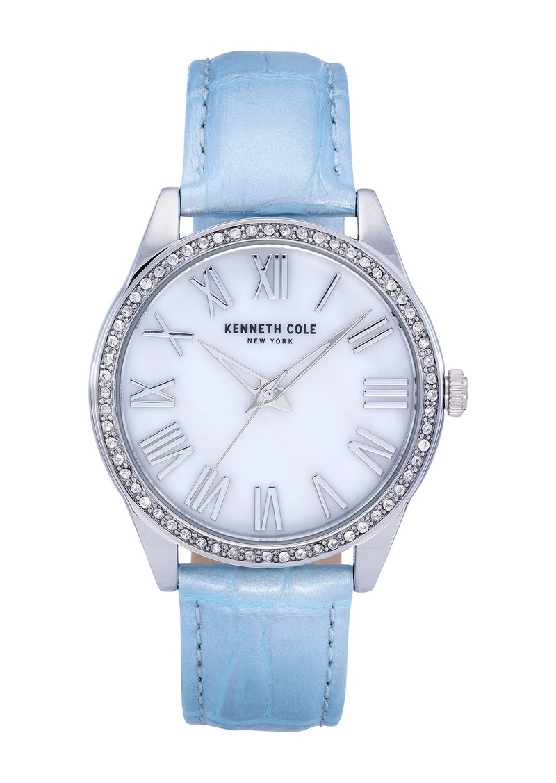 Kenneth Cole Women's Mother of Pearl Croc Embossed Leather Bracelet Watch, 39.5mm