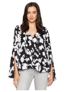Kenneth Cole Wrapped Front Flouncy Sleeve Top
