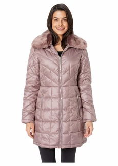 Kenneth Cole Zip Front Mix Quilt Puffer w/ Faux Fur Trimmed Hood