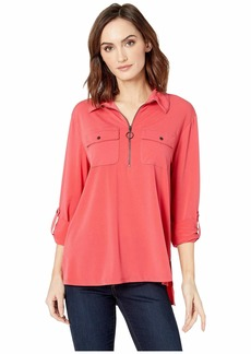 Kenneth Cole Zip-Up Front Blouse