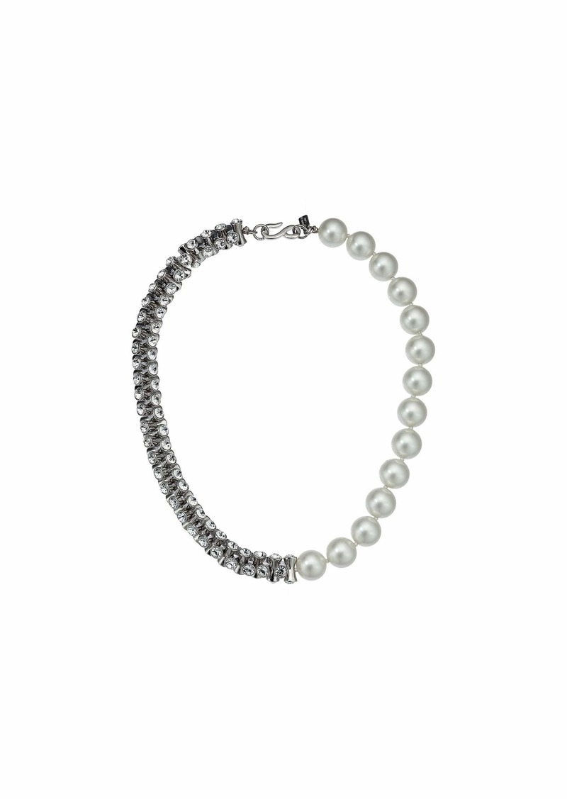 Kenneth Jay Lane 1/2 Light Cultura Pearl 1/2 Rhodium/Crystal Hourglass Bead Necklace