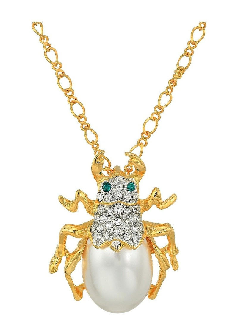 """Kenneth Jay Lane 18"""" Gold Chain with Crystal and Pearl Beetle Pendant Necklace"""