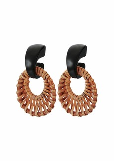 "Kenneth Jay Lane 2"" Black Resin Top with Tan Rattan Circle Drop Post Earrings"