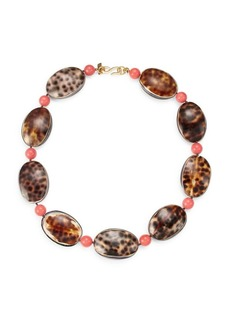 Kenneth Jay Lane 22K Goldplated Coral & Shell Necklace