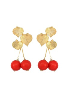"""Kenneth Jay Lane 2.5"""" Satin Gold Leaves with Cherry Drop Post Earrings"""