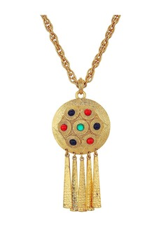 "Kenneth Jay Lane 28"" Satin Gold Multicolor Cabachon Pendant Necklace"