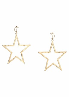 "Kenneth Jay Lane 3"" Gold Moon Top with Star Drop Post Earrings"