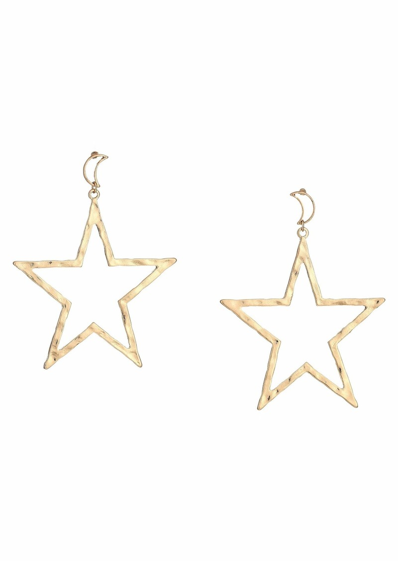 """Kenneth Jay Lane 3"""" Gold Moon Top with Star Drop Post Earrings"""