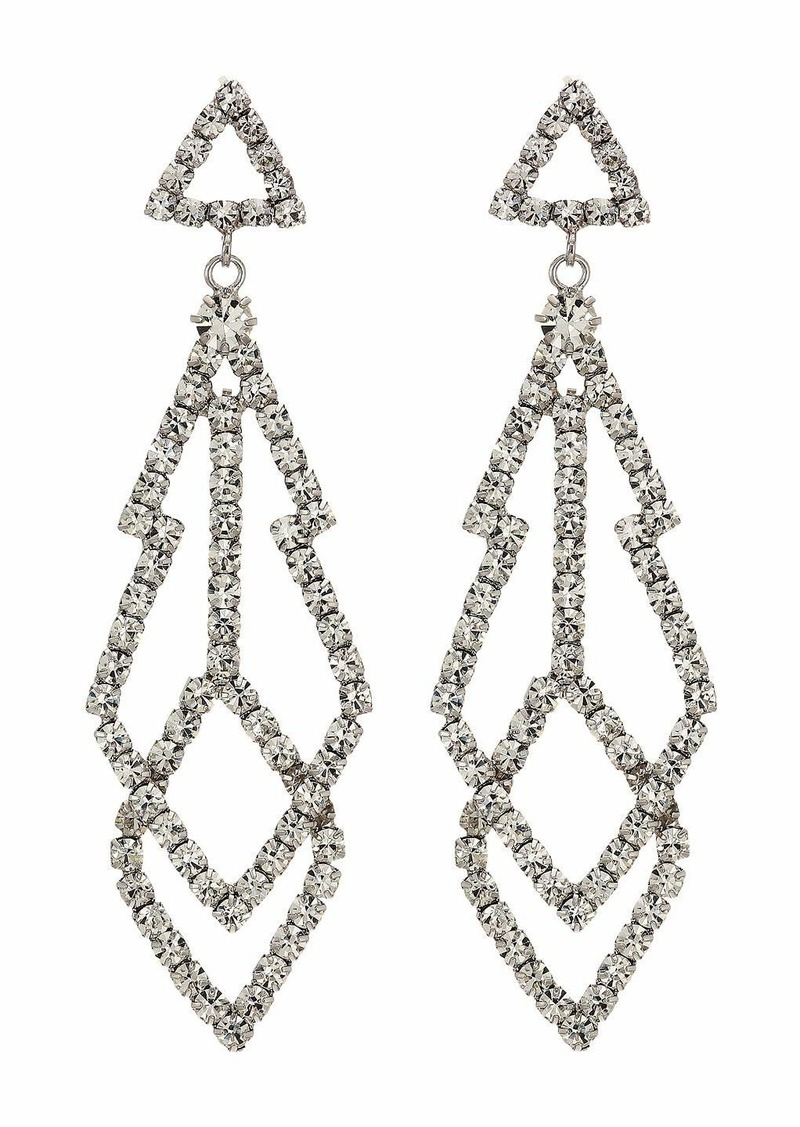 "Kenneth Jay Lane 3"" Silver with Diamond Top with Fancy Shape Crystal Drop Pierced Earrings"