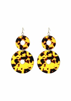 "Kenneth Jay Lane 3"" Tortoise Double Circle Fishhook Earrings"