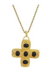 """Kenneth Jay Lane 32"""" Gold Chain Black Cabochon Cross Necklace"""