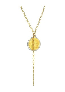 "Kenneth Jay Lane 32"" Gold Chain with Rhodium/Satin Gold Coin Pendant Necklace"