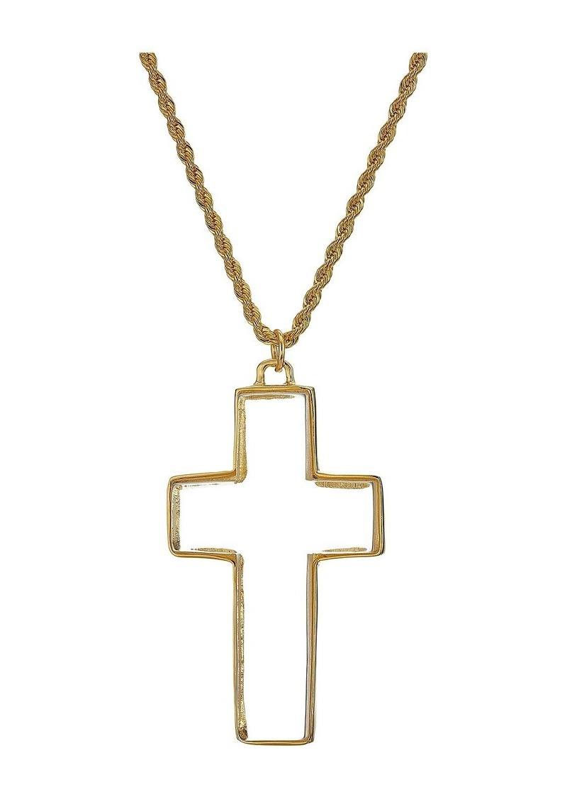 "Kenneth Jay Lane 32"" Polished Gold Clear Cross Necklace"