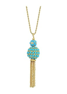 "Kenneth Jay Lane 33"" Gold Chain with Double Turquoise Cabochon Ball/Gold Chain Tassel Pendant Necklace"