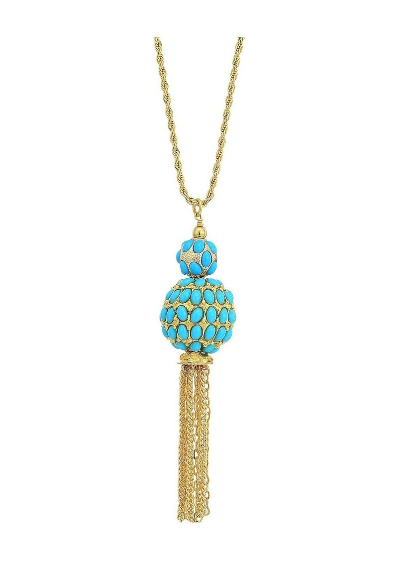 """Kenneth Jay Lane 33"""" Gold Chain with Double Turquoise Cabochon Ball/Gold Chain Tassel Pendant Necklace"""