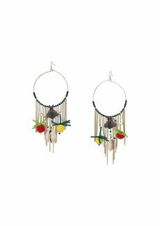 """Kenneth Jay Lane 4"""" Circle Fishhook Hoop Earrings with Chains and Resin Charms"""