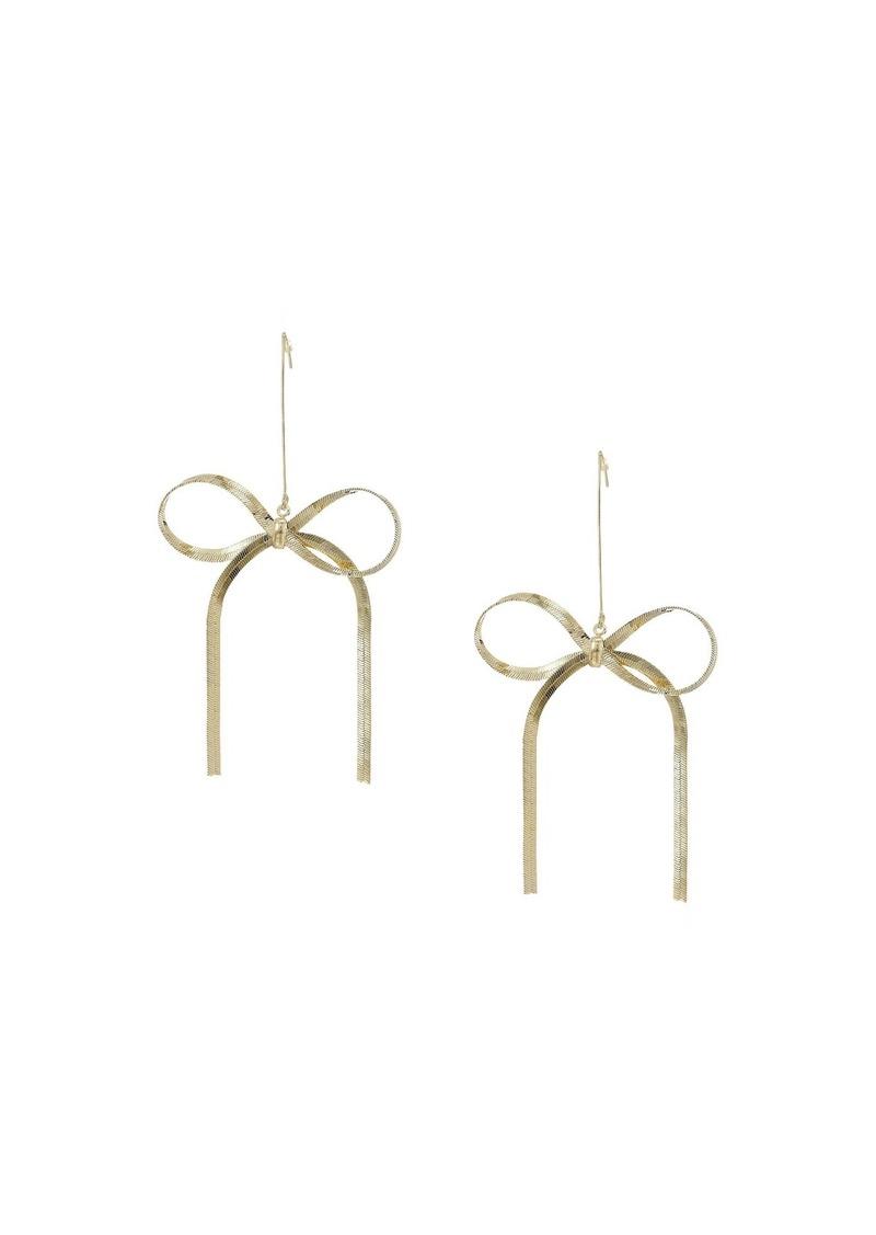 """Kenneth Jay Lane 4"""" Ribbon Fishhook Earrings"""