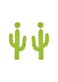 "Kenneth Jay Lane 4"" Saguaro Cactus Seed Bead Post Earrings"