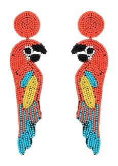 "Kenneth Jay Lane 4.5"" Multicolor/Coral Seedbead Parrot Post Earrings"