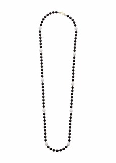 "Kenneth Jay Lane 48"" Black Beads with White Stations Gold Spacers Necklace"