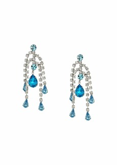Kenneth Jay Lane 5 Row Crystal with Aqua Drop Direct Post Earrings