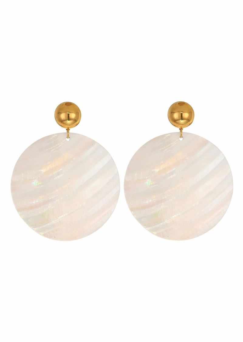 Kenneth Jay Lane 55 mm Large Round Wavy White Shell Disc Pierced Earrings