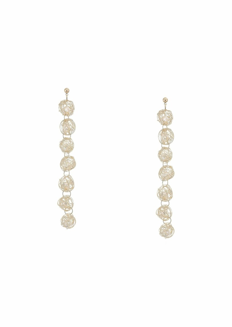 Kenneth Jay Lane 7 Gold Wire Around White Pearls Drop Post Earrings