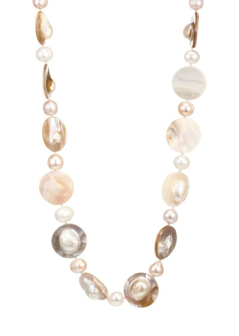 Kenneth Jay Lane 8MM & 18MM Freshwater Pearl 22K Goldplated Shell Strand Necklace