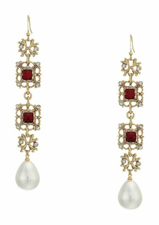 Kenneth Jay Lane Antique Gold/Crystal/Ruby/White Pearl Fishhook Earrings
