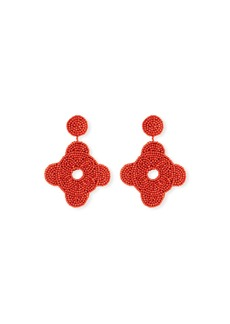 Kenneth Jay Lane Beaded Geometric Drop Earrings  Coral