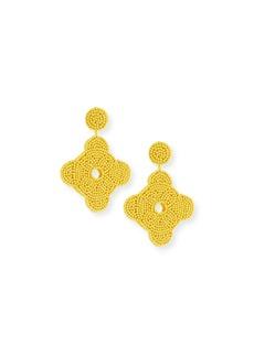 Kenneth Jay Lane Beaded Geometric Drop Earrings  Yellow