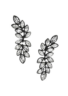 Kenneth Jay Lane Black Enamel & Crystal Leaf Drop Earrings