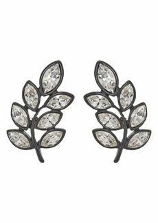 Kenneth Jay Lane Black Plate/Crystal Leaf Pierced Earrings