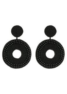 Kenneth Jay Lane Black Seed Bead Circle Drop Direct Post Earrings