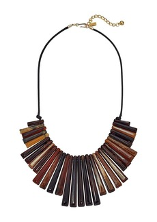 Kenneth Jay Lane Black Thread Tortoise Spikes Front with Polished Gold Chain Necklace