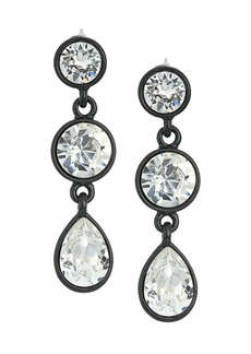 Kenneth Jay Lane Black/Crystal 3 Drop Pierced Earrings