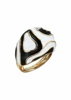 Kenneth Jay Lane Black/White Enamel Opart Adjustable Ring