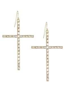 Kenneth Jay Lane Cross Drop Earrings