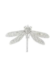Kenneth Jay Lane Crystal & Rhodium-Plated Dragonfly Brooch