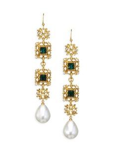 Kenneth Jay Lane Crystal & Pearl Drop Earrings