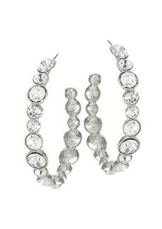 Kenneth Jay Lane Crystal & Rhodium Plated Hoop Earrings