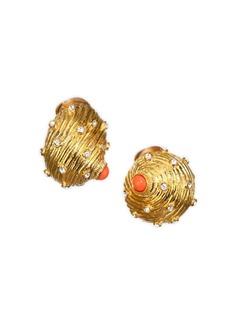 Kenneth Jay Lane Crystal Studded Shell Earrings