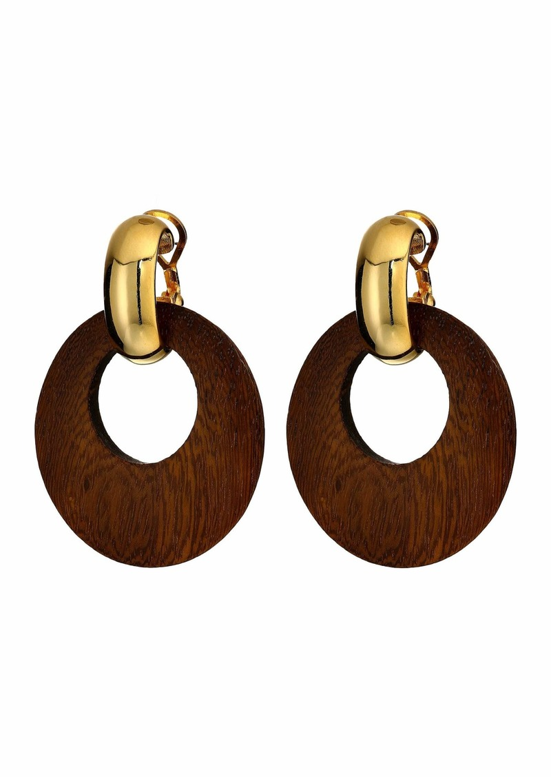 Kenneth Jay Lane Dark Wood Hoop with Polished Gold Clutchless Pierced Earrings