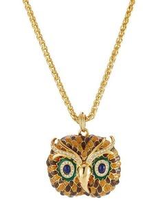 Kenneth Jay Lane Embellished Owl Necklace