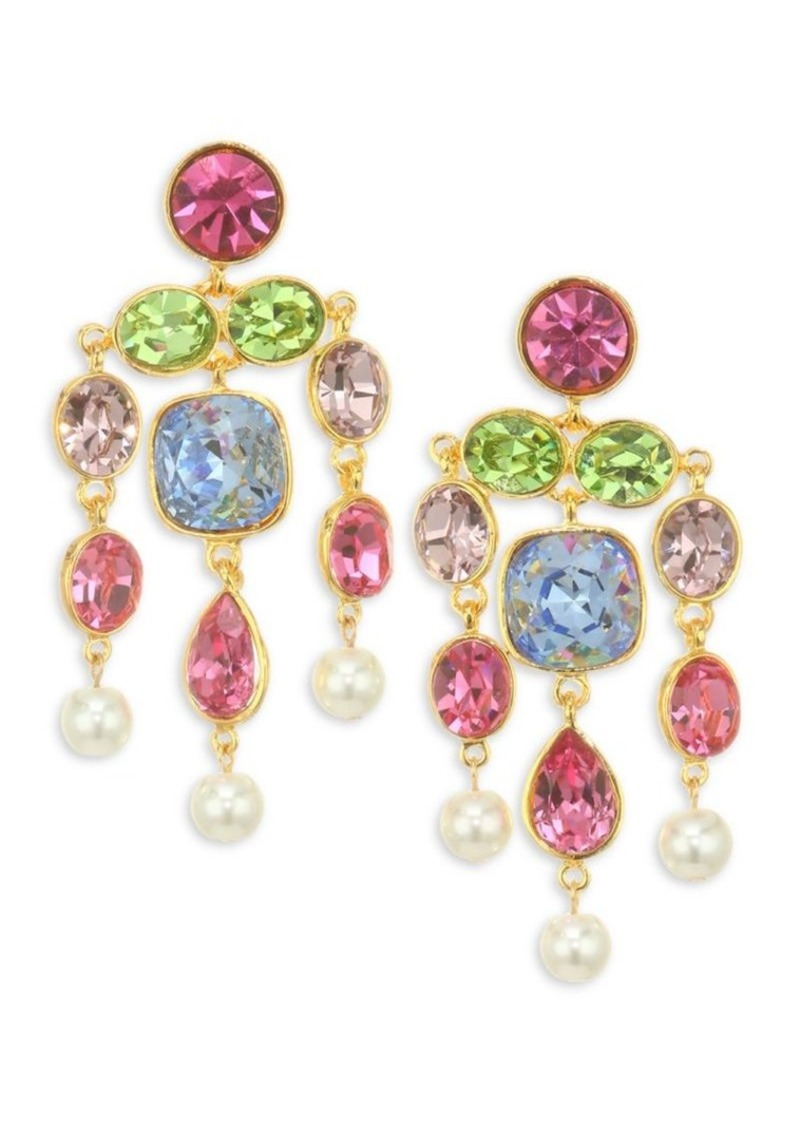 Kenneth Jay Lane Faux Pearl & Glass Stone Gold Plated Chandelier Earrings